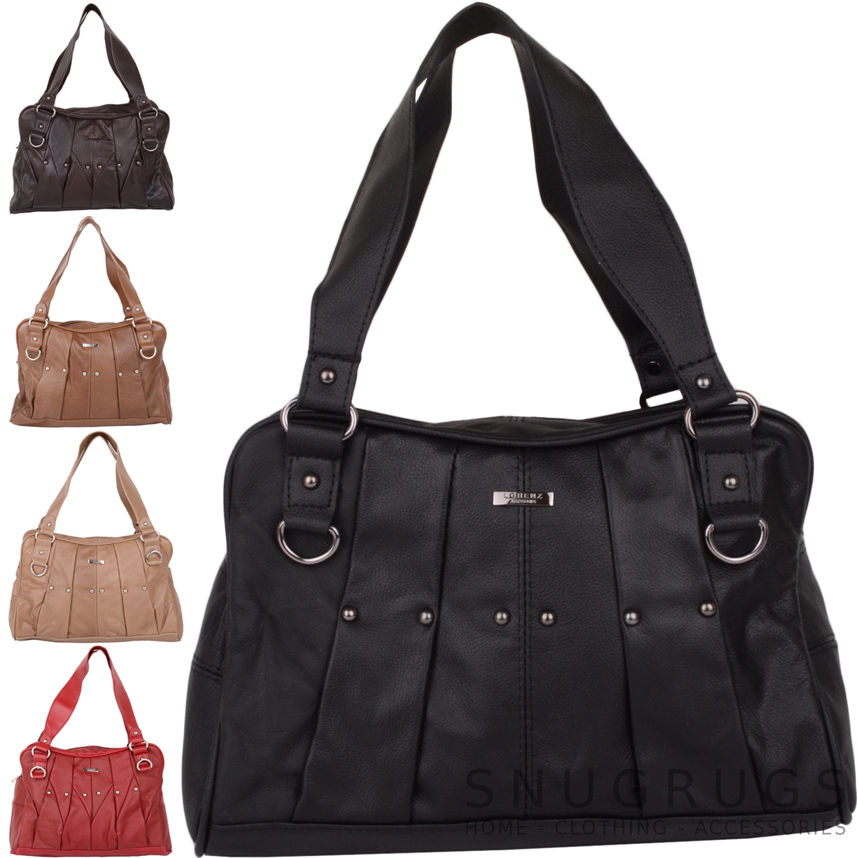 Details about Ladies   Womens Genuine Leather Shoulder Bag   Handbag with  Stud Design 409d5cb96758f