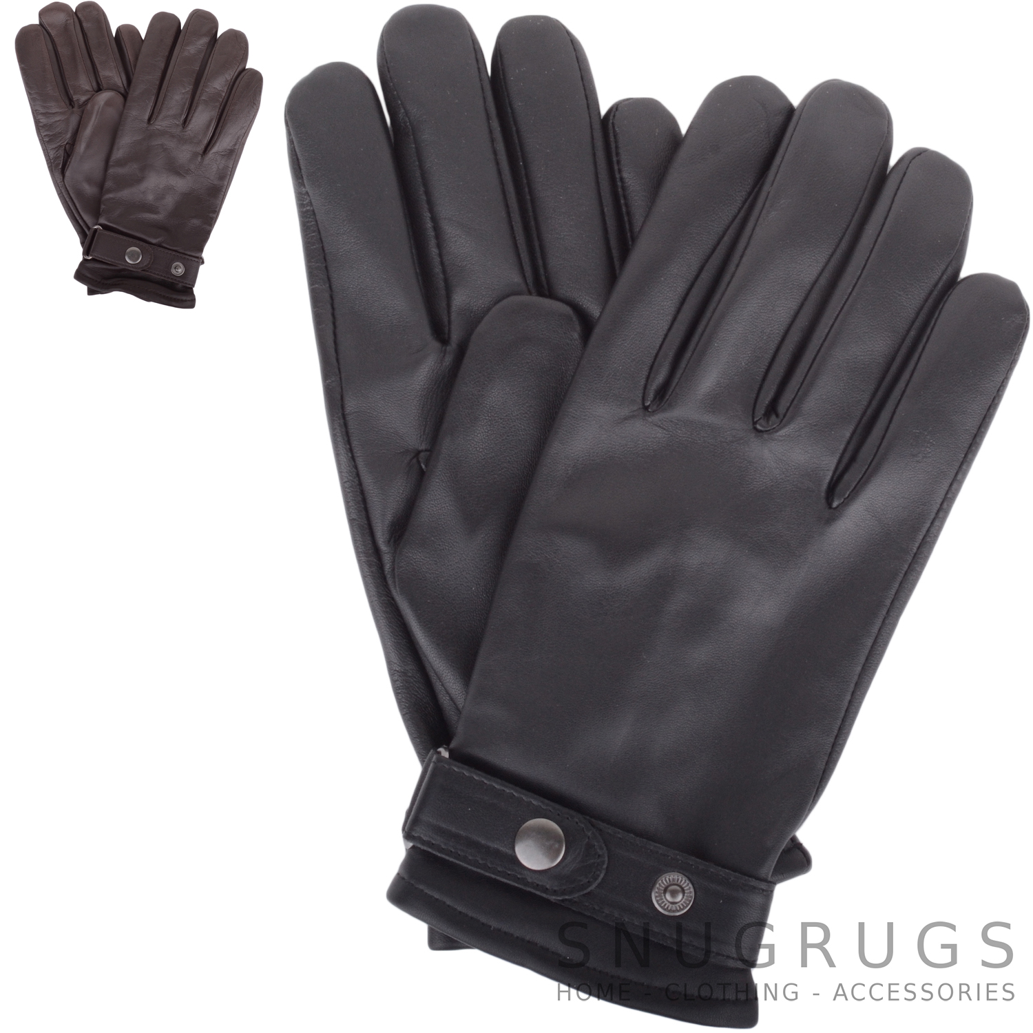 Sizes Small to Extra Large SNUGRUGS Mens Black Luxury Genuine Leather Gloves with Sheepskin Wool Lining