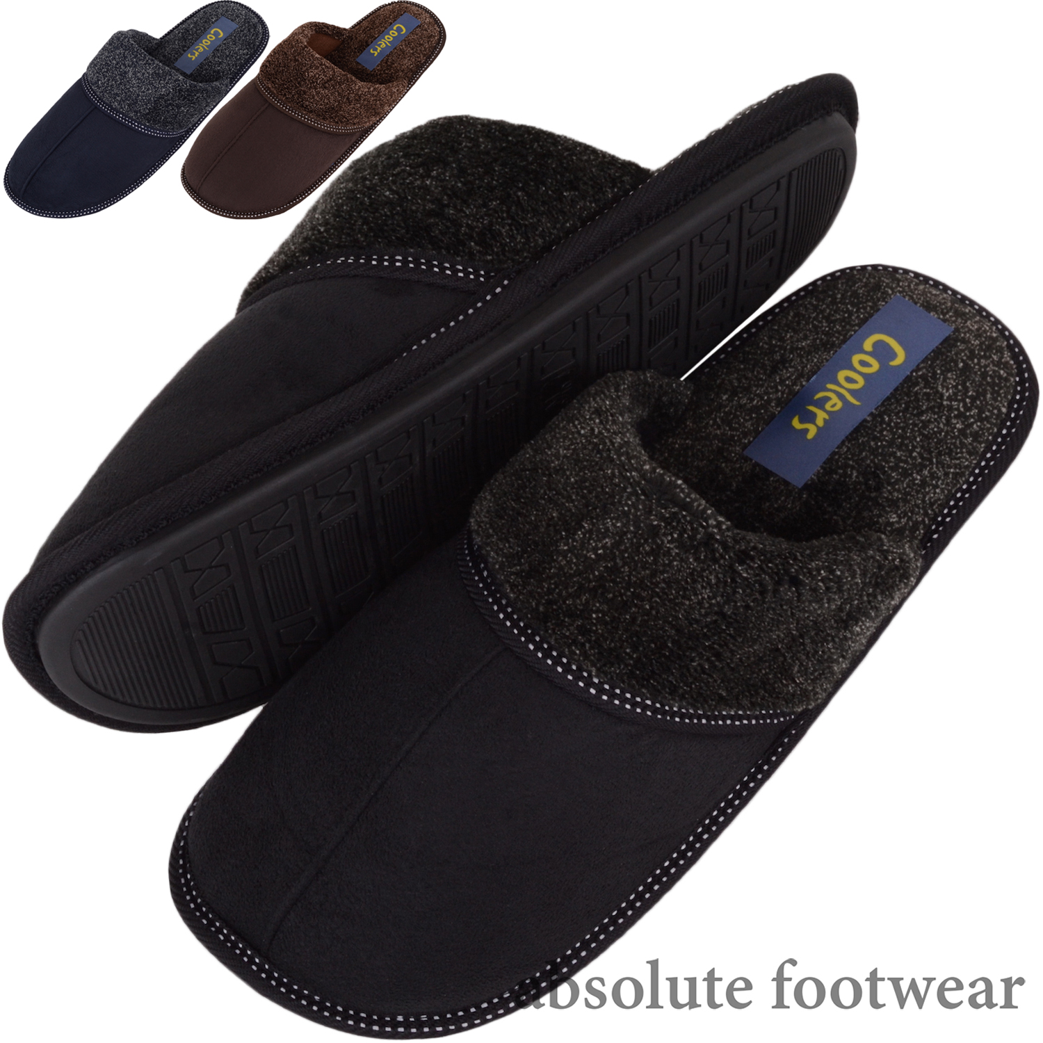 Mules Indoor Shoes with Stitch Detail Gents  Slip On Slippers Mens