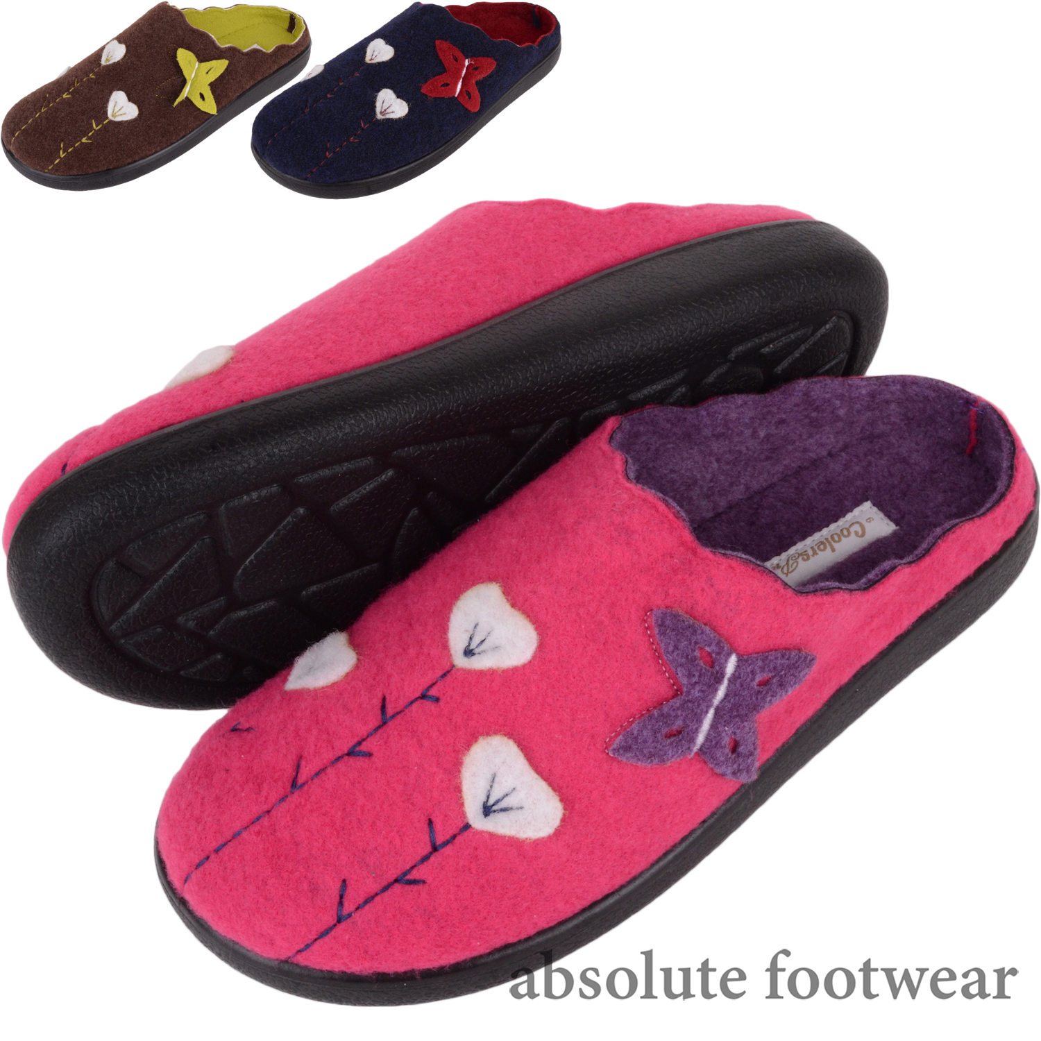 ff25c990f4d65 Details about Ladies / Womens Felt Slip On Mules / Slippers / Indoor Shoes  with Floral Design