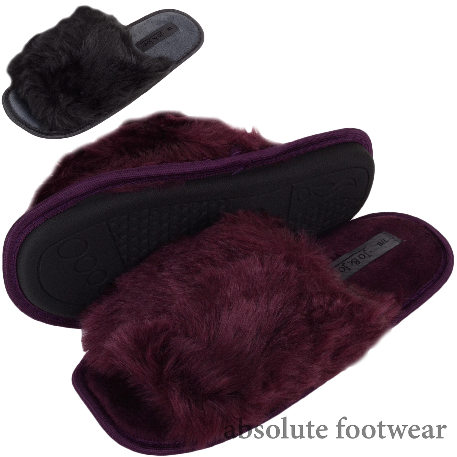 Shoes with Faux Fur Uppers Womens Slip On Slider Mules Ladies Slippers