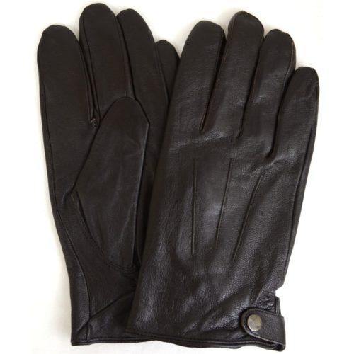 Leather Glove 3 Pt Stitch with Stud Fastening - Brown