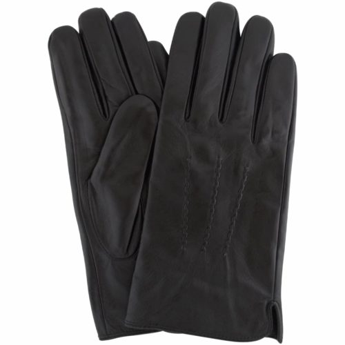 Leather Gloves with Three Point Stitch - Black