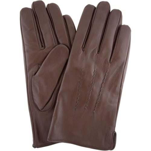 Leather Gloves with Three Point Stitch - Brown