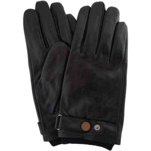 Leather Biker Stud Gloves – Black