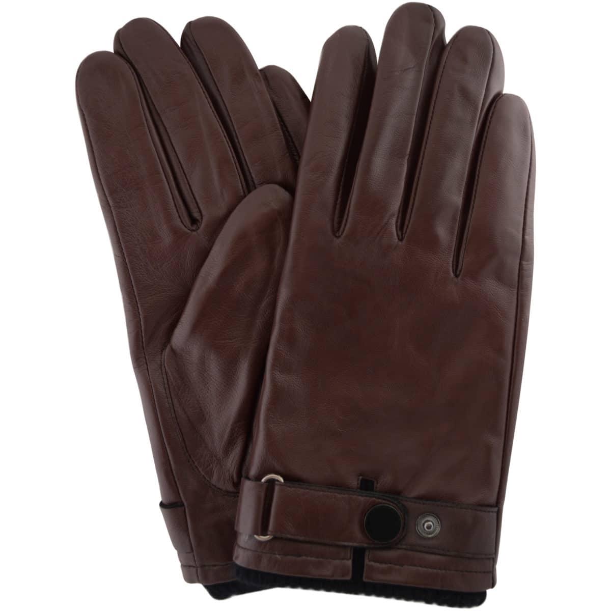 Leather Biker Stud Gloves - Brown
