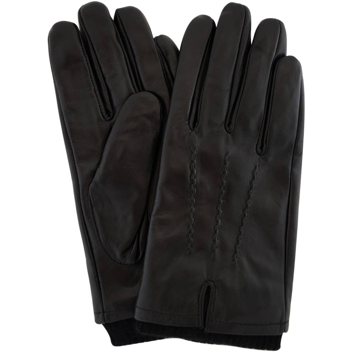 Leather Knitted Rib Cuff Gloves – Black