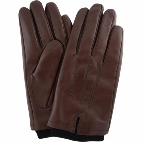 Leather Knitted Rib Cuff Gloves - Brown