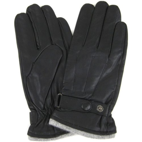 Leather Stud Gloves - Black