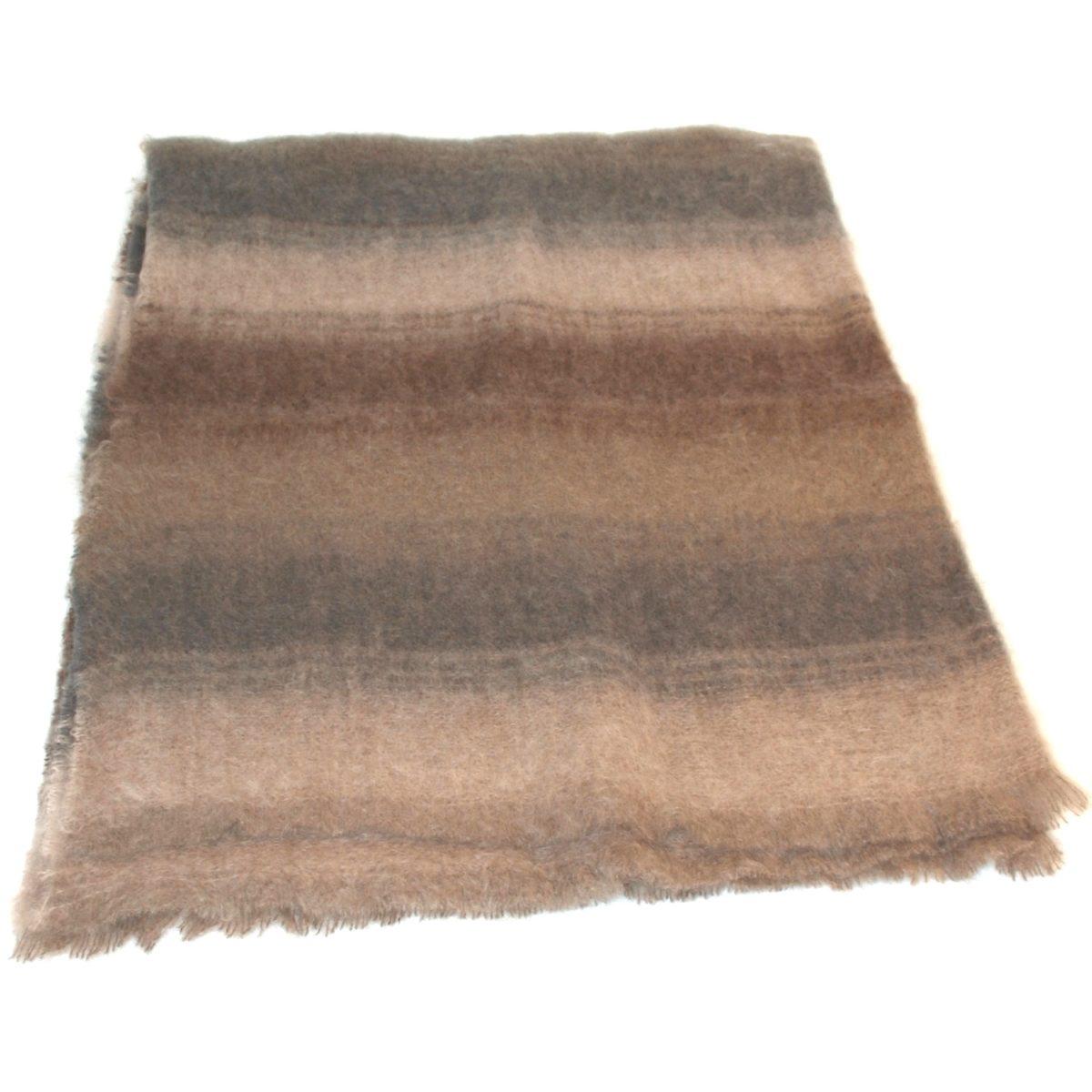 Mohair Blanket - Tan Stripe