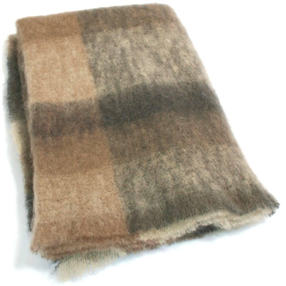 Mohair Blanket - Tan Check