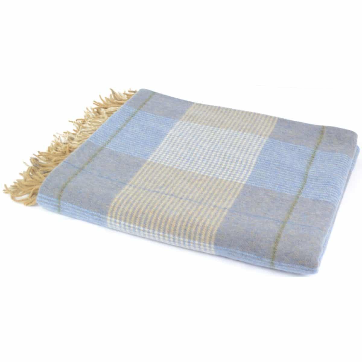 Lambswool Blanket / Throw - Baby Blue