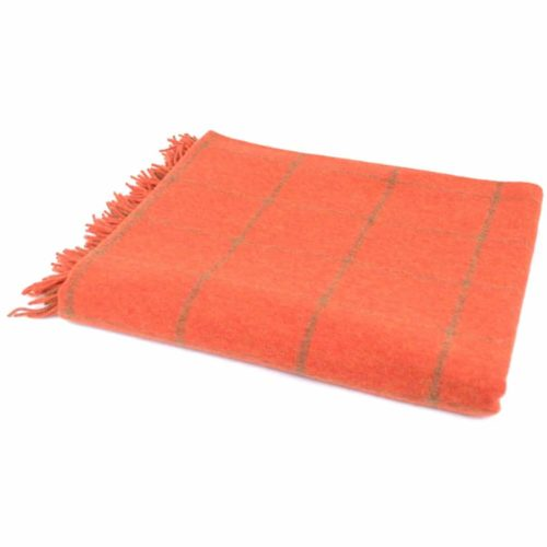Lambswool Blanket / Throw - Burnt Orange