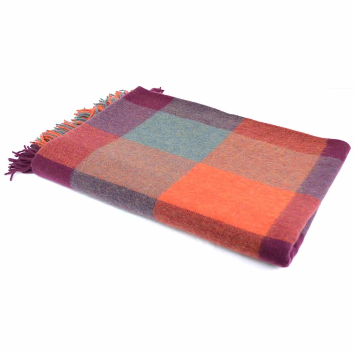 Lambswool Blanket / Throw - Mulberry Delight