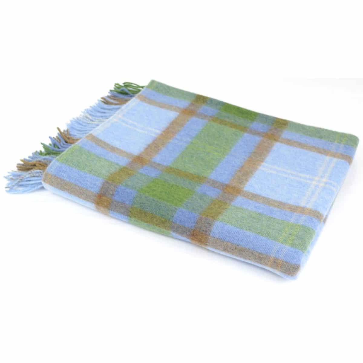 Lambswool Blanket / Throw - Cornflower Blue