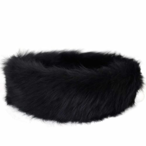 Alexi - Ladies Long Sheepskin Ski Headband - Black