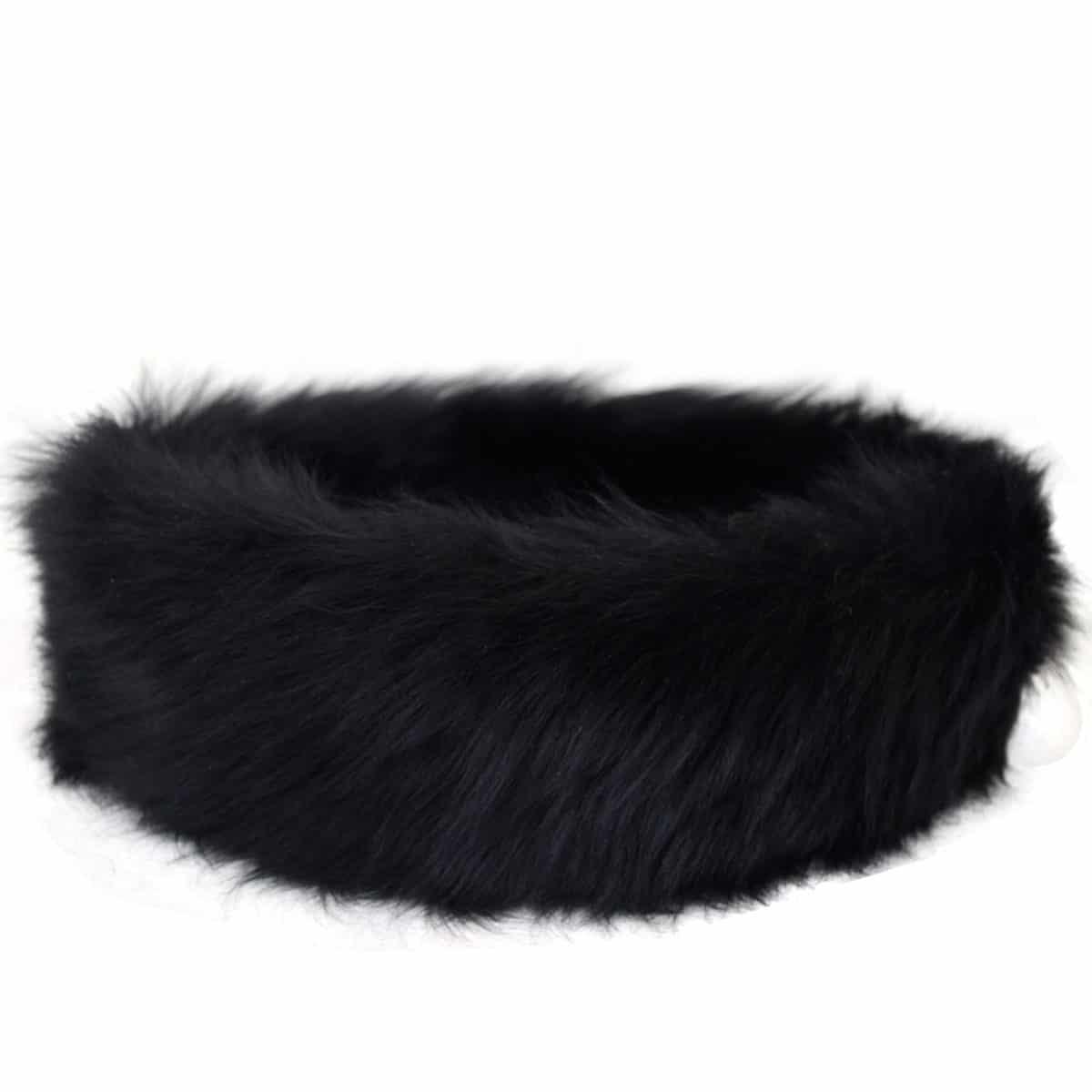 Alexi - Ladies Long Sheepskin Ski Headband - Black