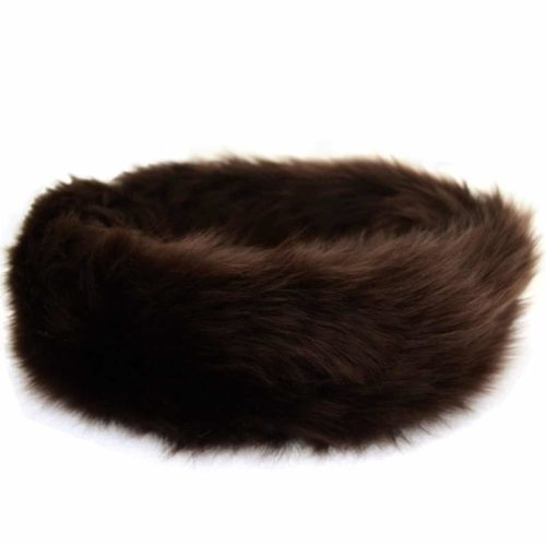 Alexi - Ladies Long Sheepskin Ski Headband - Brown