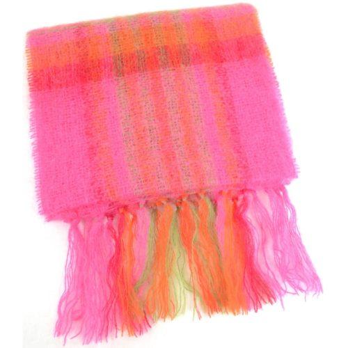 Mohair Scarf - Pink & Orange
