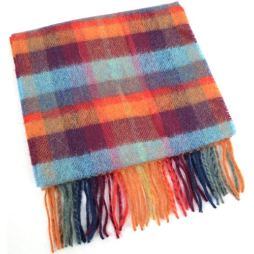 Extra Long Lambswool Scarf - Orange & Blue