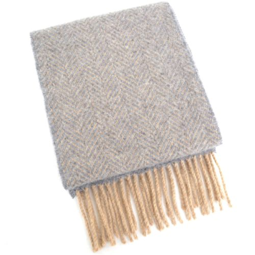 Merino Cashmere Scarf - Brown & Grey