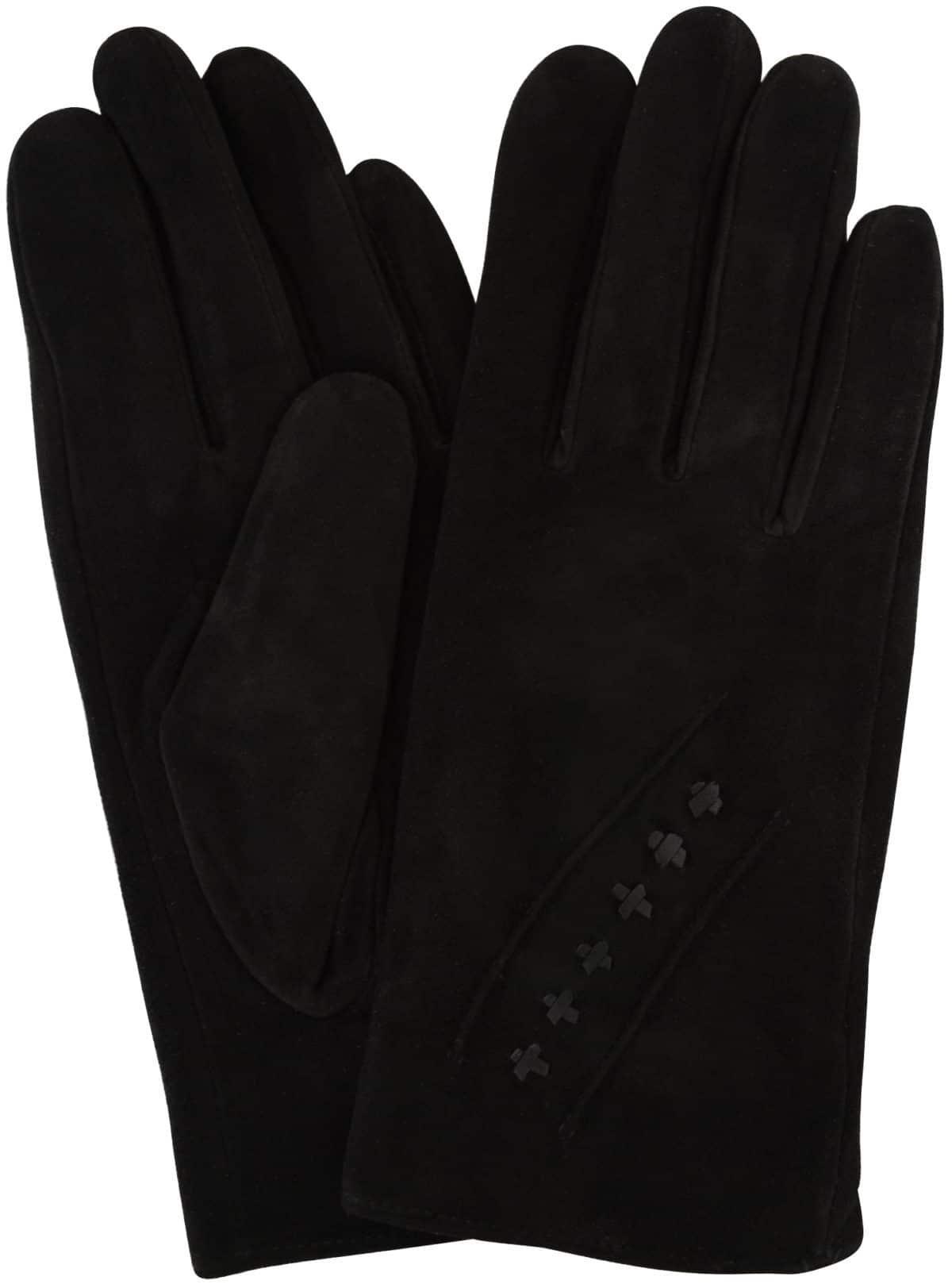 Suede Gloves Fleece Lining and Stitch Design - Black