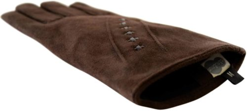 Suede Gloves Fleece Lining and Stitch Design - Brown