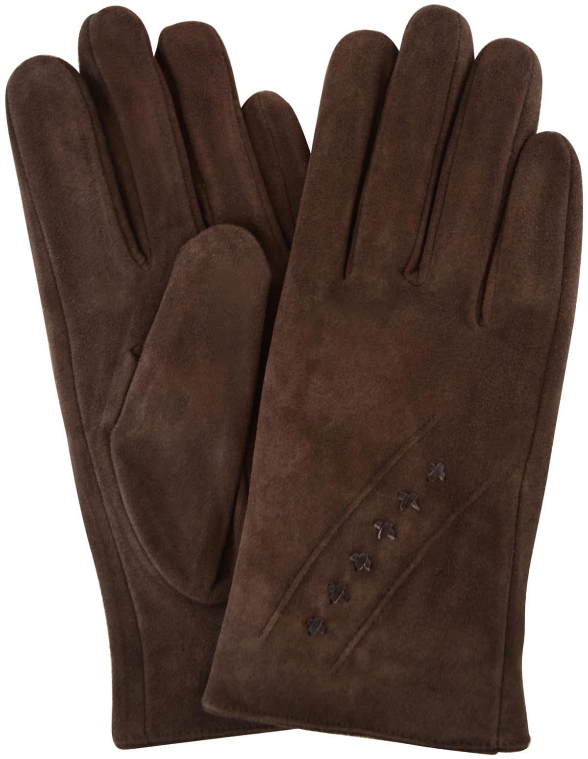 Suede Gloves Fleece Lining and Stitch Design - Brown