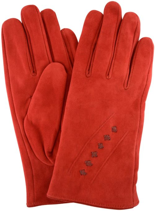 Suede Gloves Fleece Lining and Stitch Design - Red