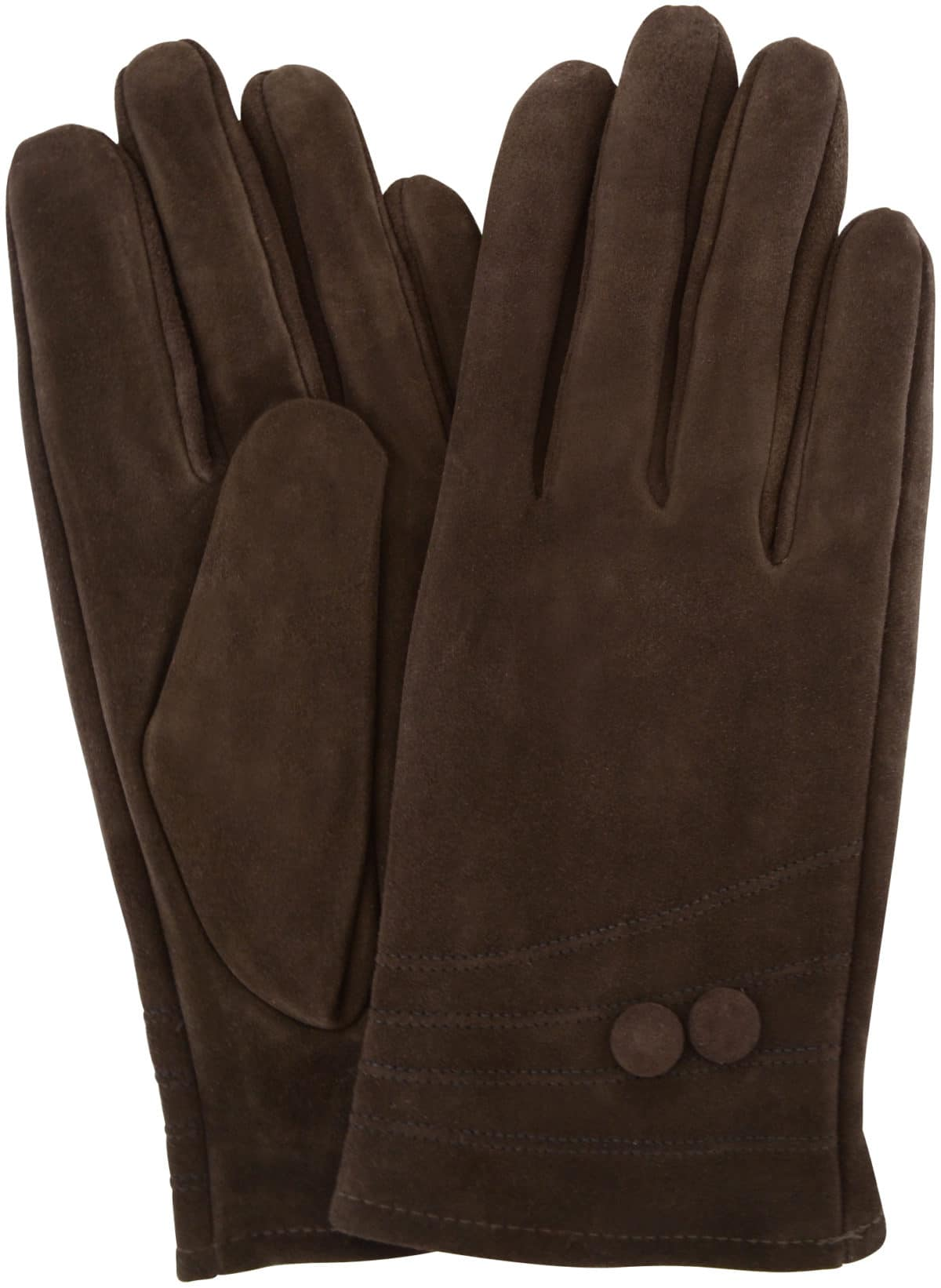 Suede Gloves Fleece Lining and Button Design - Brown