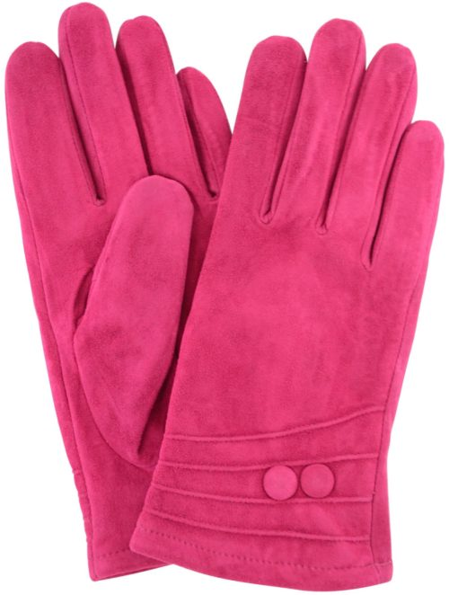 Suede Gloves Fleece Lining and Button Design - Pink