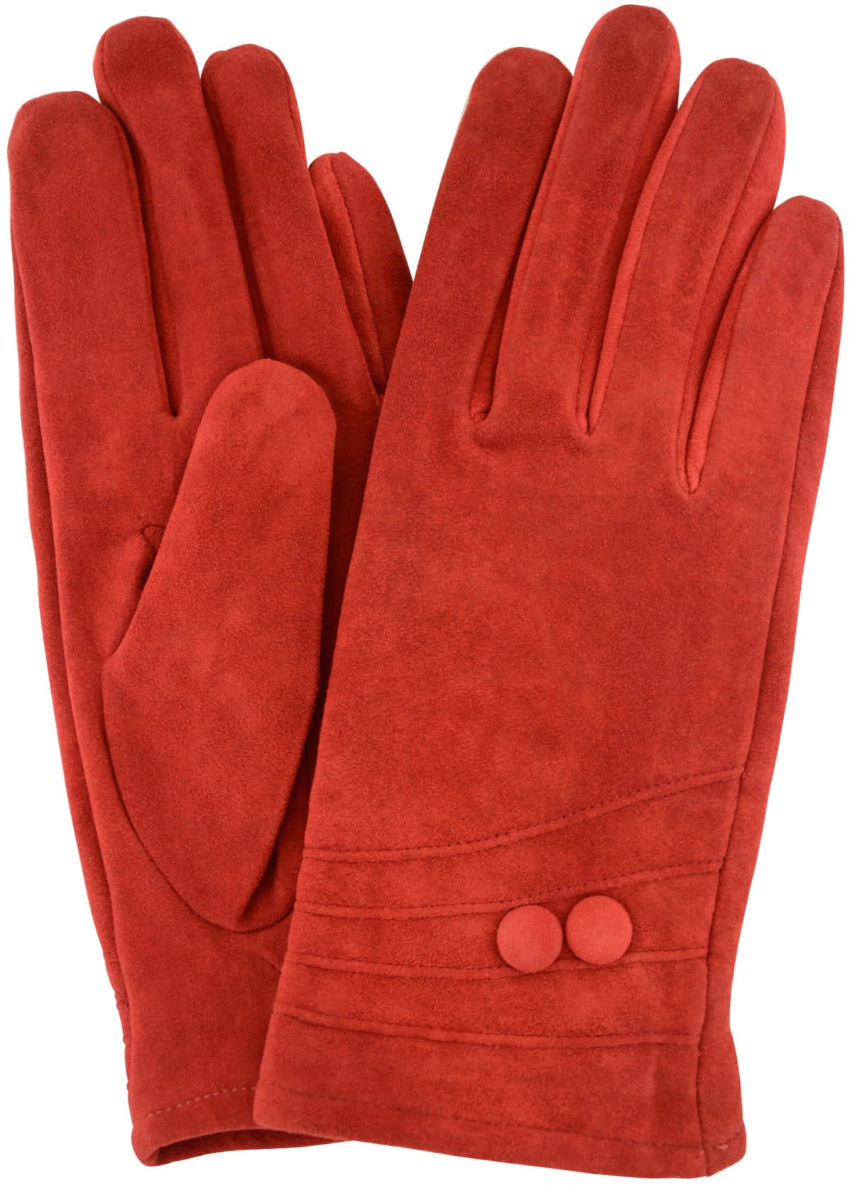 Suede Gloves Fleece Lining and Button Design - Red