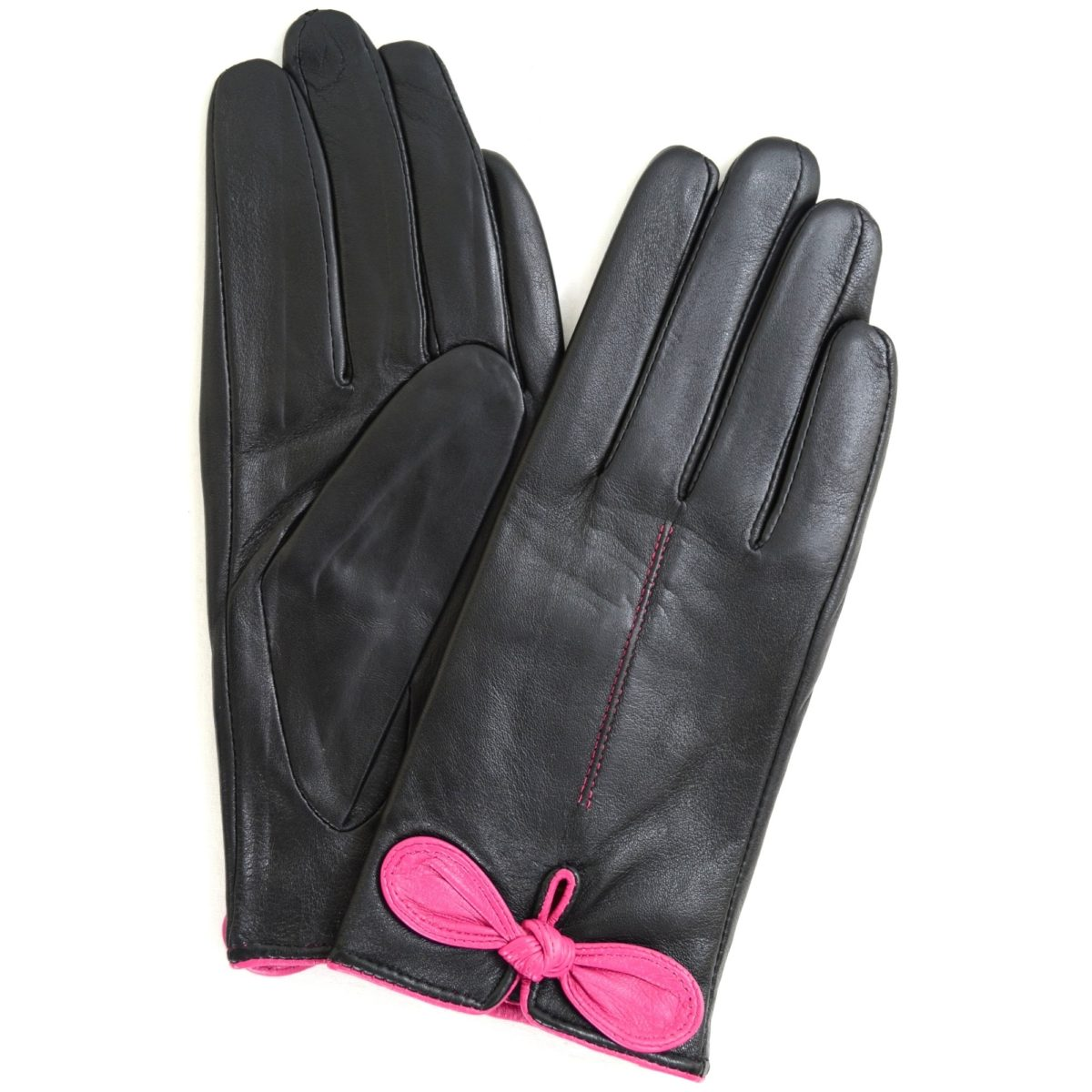 Olwen - Leather Gloves with Bow Feature - Pink