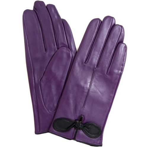 Olwen - Leather Gloves with Bow Feature - Purple
