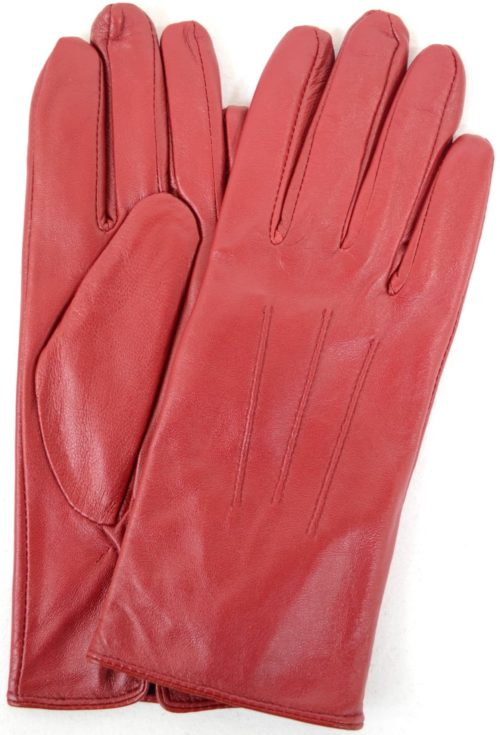 Ruthana - Leather Glove with Three Point Stitch - Red