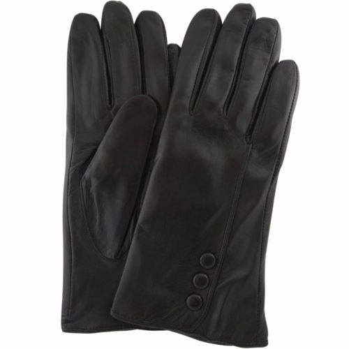 Rhian - Leather Gloves Triple Button Feature - Black