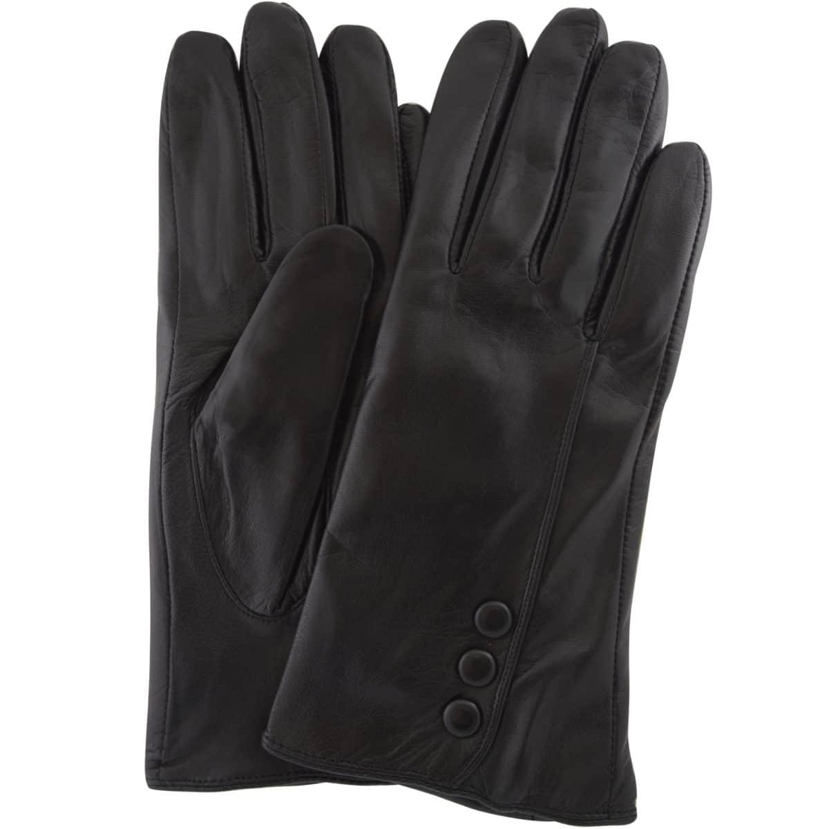 Rhian - Leather Gloves Triple Button Feature - Black