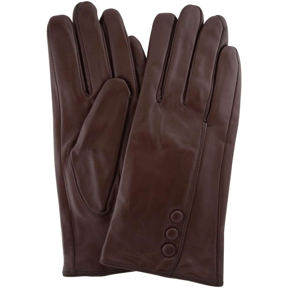 Rhian - Leather Gloves Triple Button Feature - Brown