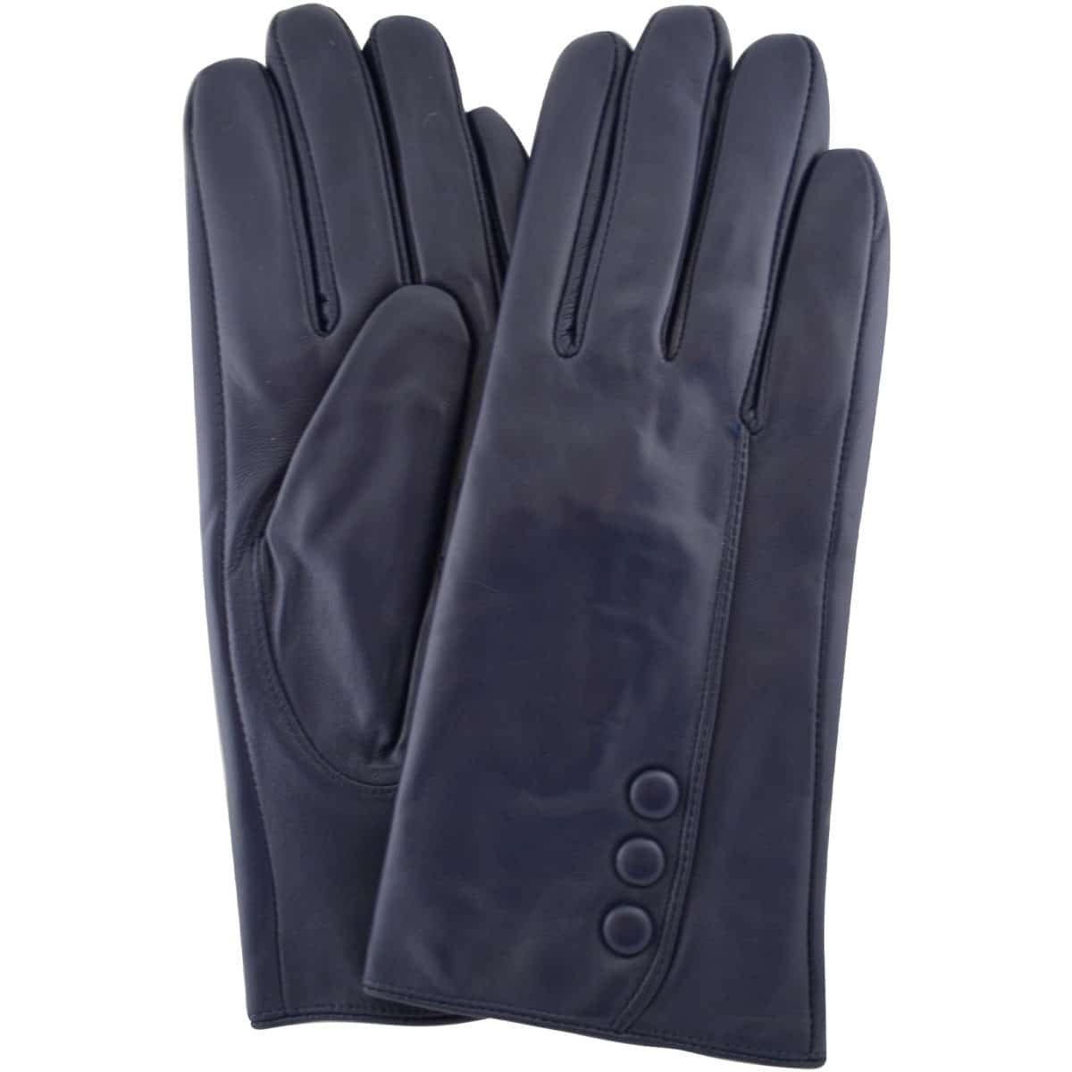 Rhian - Leather Gloves Triple Button Feature - Navy