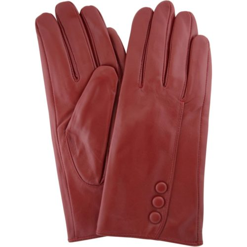 Rhian - Leather Gloves Triple Button Feature - Red