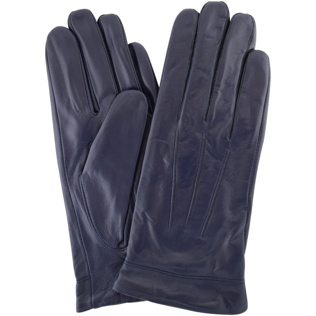 Mavis - Leather Gloves Three Point Stitch - Navy