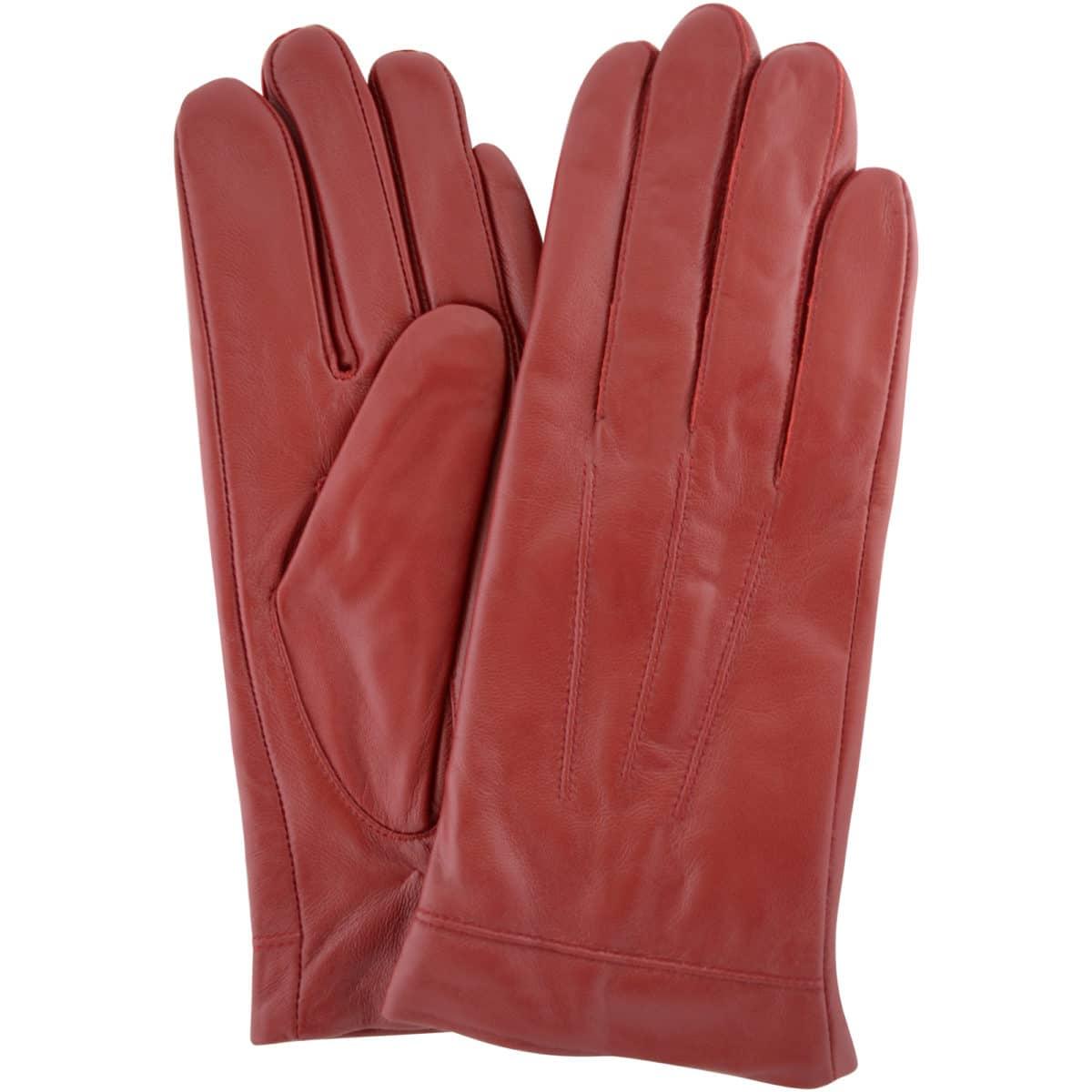 Mavis - Leather Gloves Three Point Stitch - Red