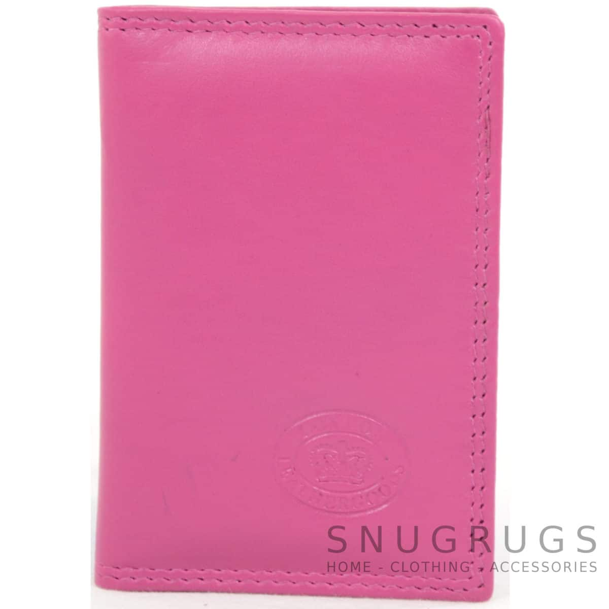 Soft Leather Credit Card / Travel Card Holder - Cerise Pink