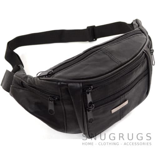 Soft Nappa Leather Bum Bag / Waist Bag - Black
