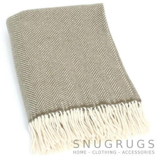 Merino Cashmere Blanket / Throw - Green Herringbone