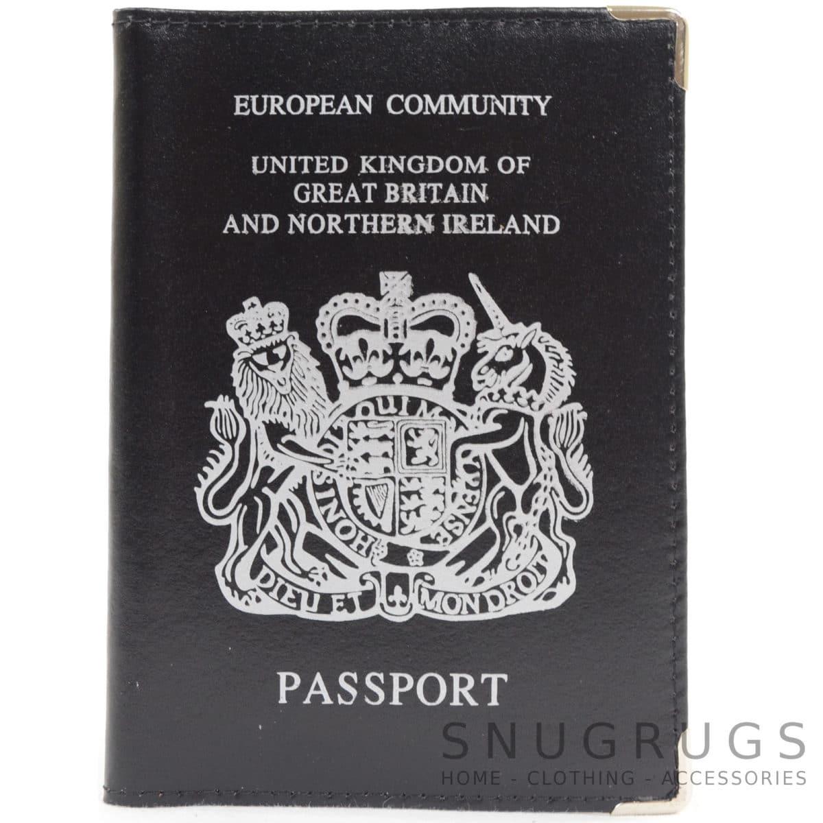 Leather Passport Holder / Case - Black