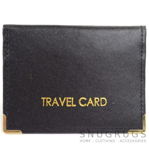 Leather Travel Card / ID / Credit Card Holder - Black