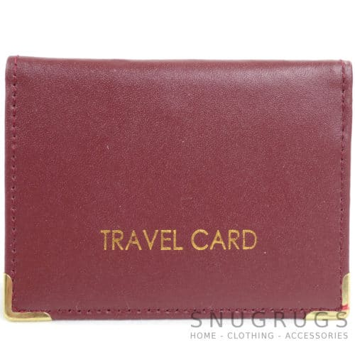 Leather Travel Card / ID / Credit Card Holder - Burgundy