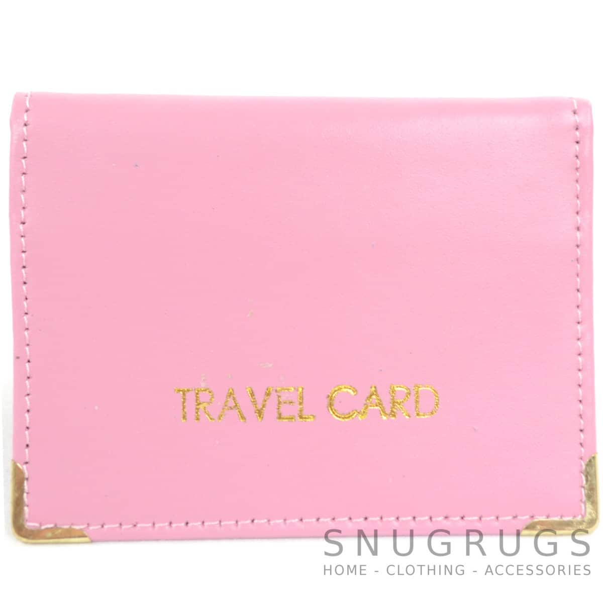 Leather Travel Card / ID / Credit Card Holder - Pink