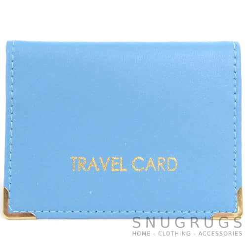 Leather Travel Card / ID / Credit Card Holder - Sky Blue